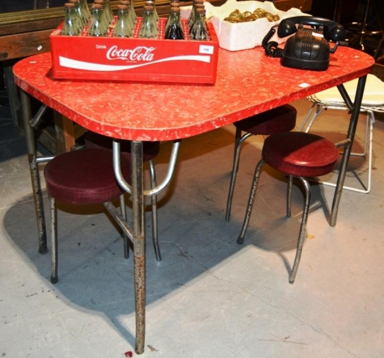 1950s Kitchen Table Fitted With 4 Fold Out Stools Red Marbl