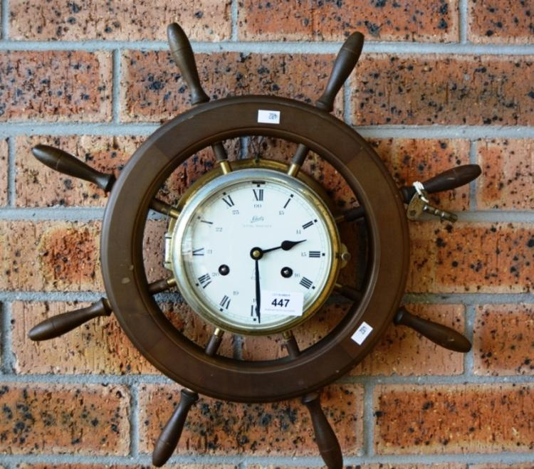 Schatz Royal Mariner Nautical Clock In A Ships Wheel Style F