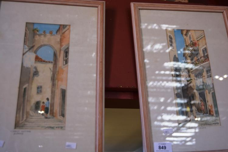 Pair of European village scene prints