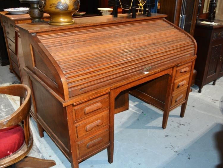 Antique Oak Roll Top Desk By Beard Watson Sydney Roller Sh