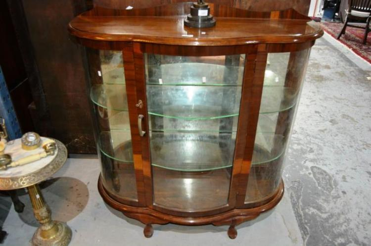 Vintage Queensland Walnut China Display Cabinet