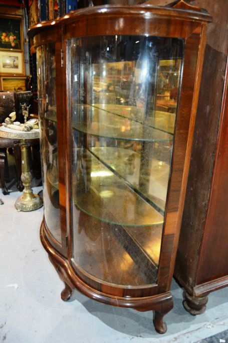Vintage Queensland Walnut China Display Cabinet