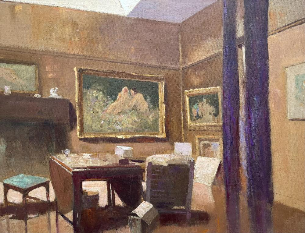 William Rubery Bennett, Australian 1893-1987, Interior room study with art on walls, oil on canvas board, 29.50 x 36.50 cm. (11.61 x 14.37 in.), Frame: 45 x 52 cm. (17.72 x 20.47 in.)