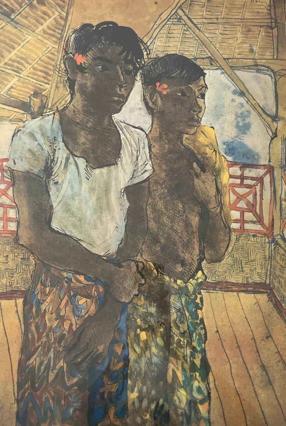 Donald Stuart Lesley Friend, Australian 1915-1989, Two young boys in sarongs, lithograph, 55.50 x 38 cm. (21.85 x 14.96 in.), Frame: 71.50 x 53.50 cm. (28.15 x 21.06 in.)
