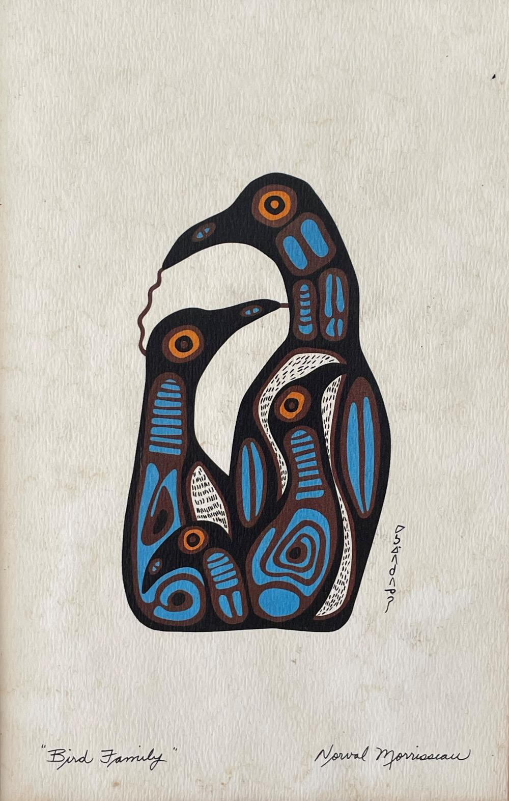 Norval Morrisseau, Canadian 1932-2007, Bird Family, colour silk screen, 14 x 22 cm. (5.51 x 8.66 in.), Frame: 28 x 36 cm. (11.02 x 14.17 in.)