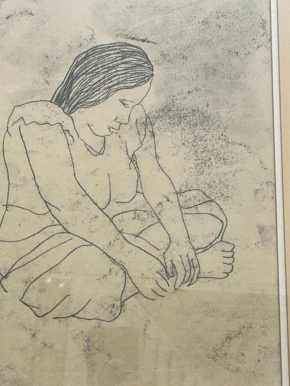 Ray Austin Crooke, Australian 1922-2015, Study of Tahitian woman, etching, 30 x 23 cm. (11.81 x 9.06 in.), Frame: 47 x 59 cm. (18 1/2 x 23.23 in.)