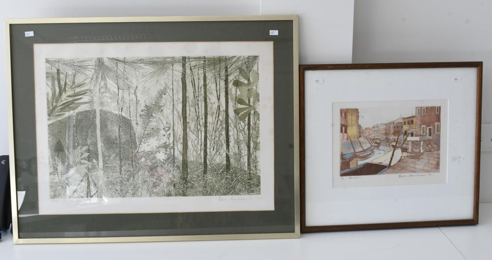 Edith Cowlishaw, Australian 1924-, 2 works - The Bunyip & Burano, Etching/aquatint, 33 x 50.50 cm. (12.99 x 19.88 in.), Frame: 53 x 69 cm. (20.87 x 27.17 in.)