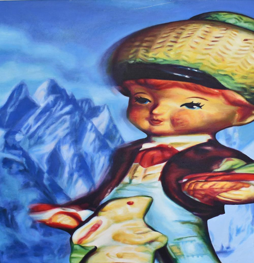 Christine Aerfeldt, Australian 1958-, Little Rabbit Boy Dietrich is Always Busy, oil on canvas, 122 x 122 cm. (48.03 x 48.03 in.)