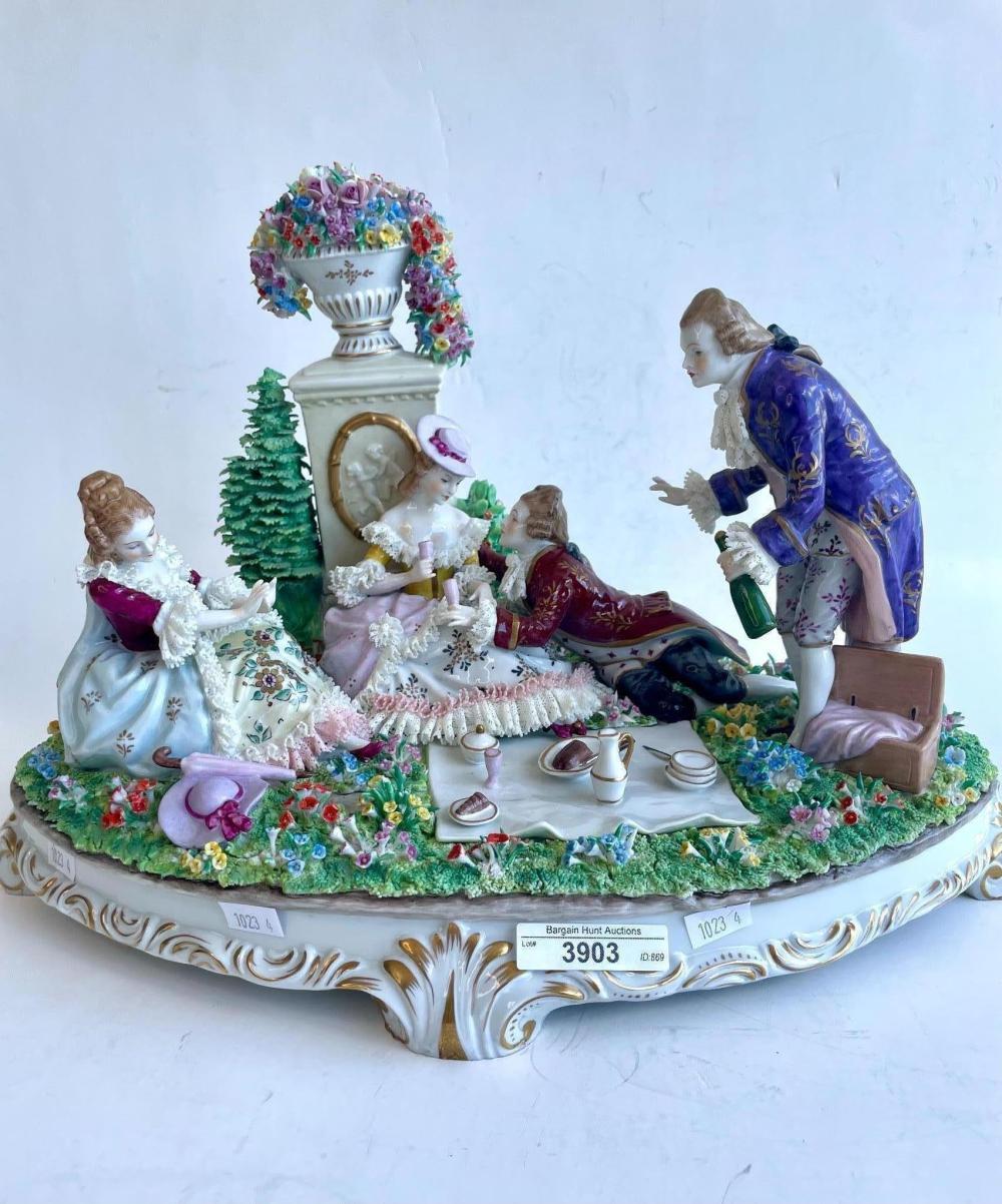 Large Sitzendorf German porcelain figural group, 16 x 39 cm. (6.30 x 15.35 in.)
