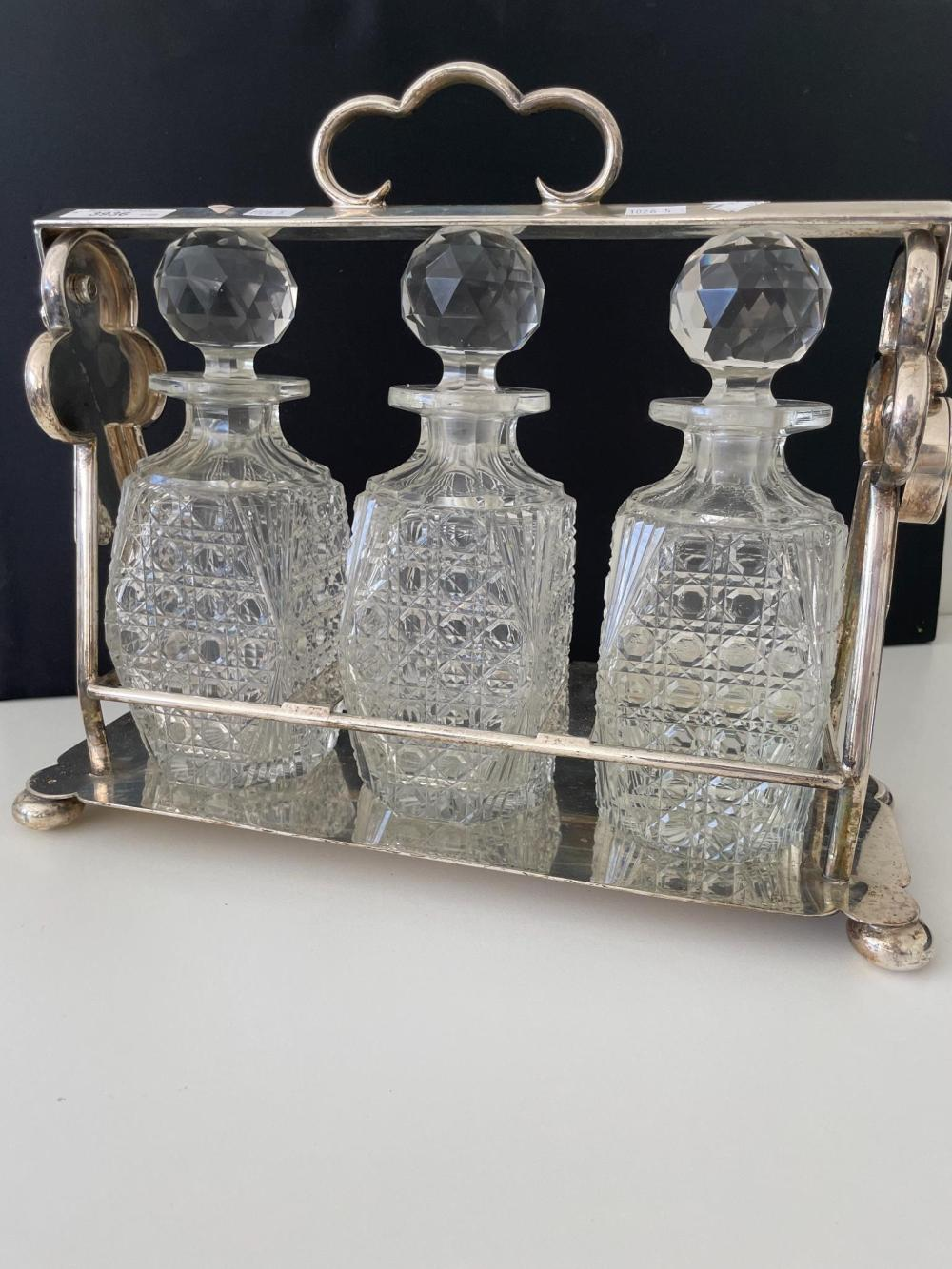 Antique silver plate three bottle tantalus wide 36 cm. (14.17 in.)
