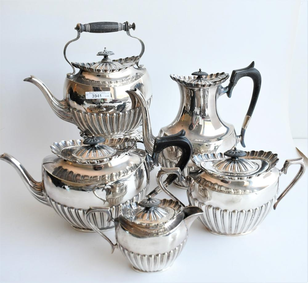 Antique silver plate five piece tea service by Philip Ashberry & Sons, Sheffield