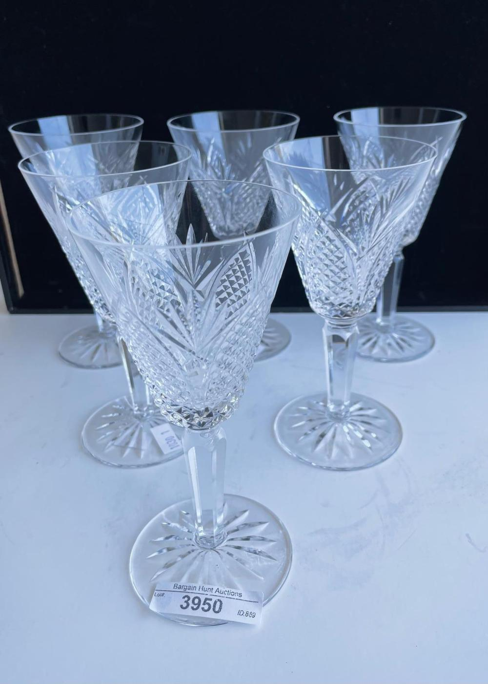 Set of six Waterford Crystal 'Dunmore' wine glasses, 15.70 cm. (6.18 in.)