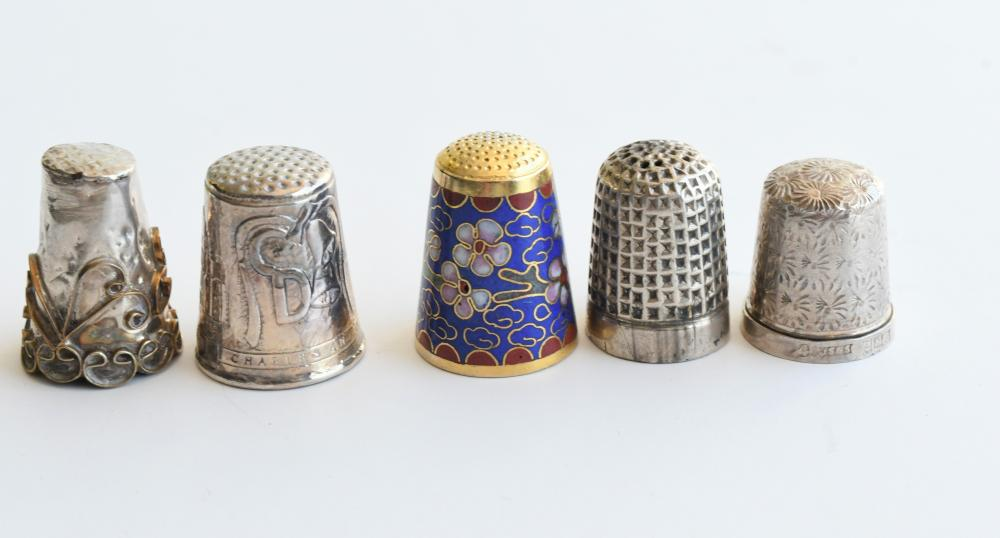 Collection of five thimbles