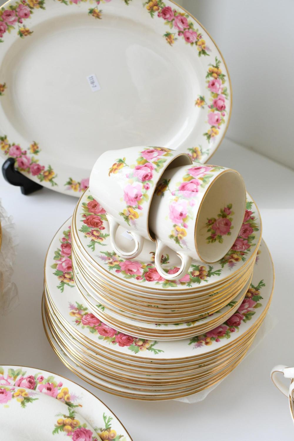 Royal Doulton 'Roses & Wattle' dinner set platter 32.70 x 26.50 cm. (12.87 x 10.43 in.)