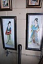 Pair of stamped Japanese hand coloured etchings of