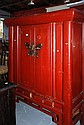 Large Chinese red lacquered wedding cabinet with a