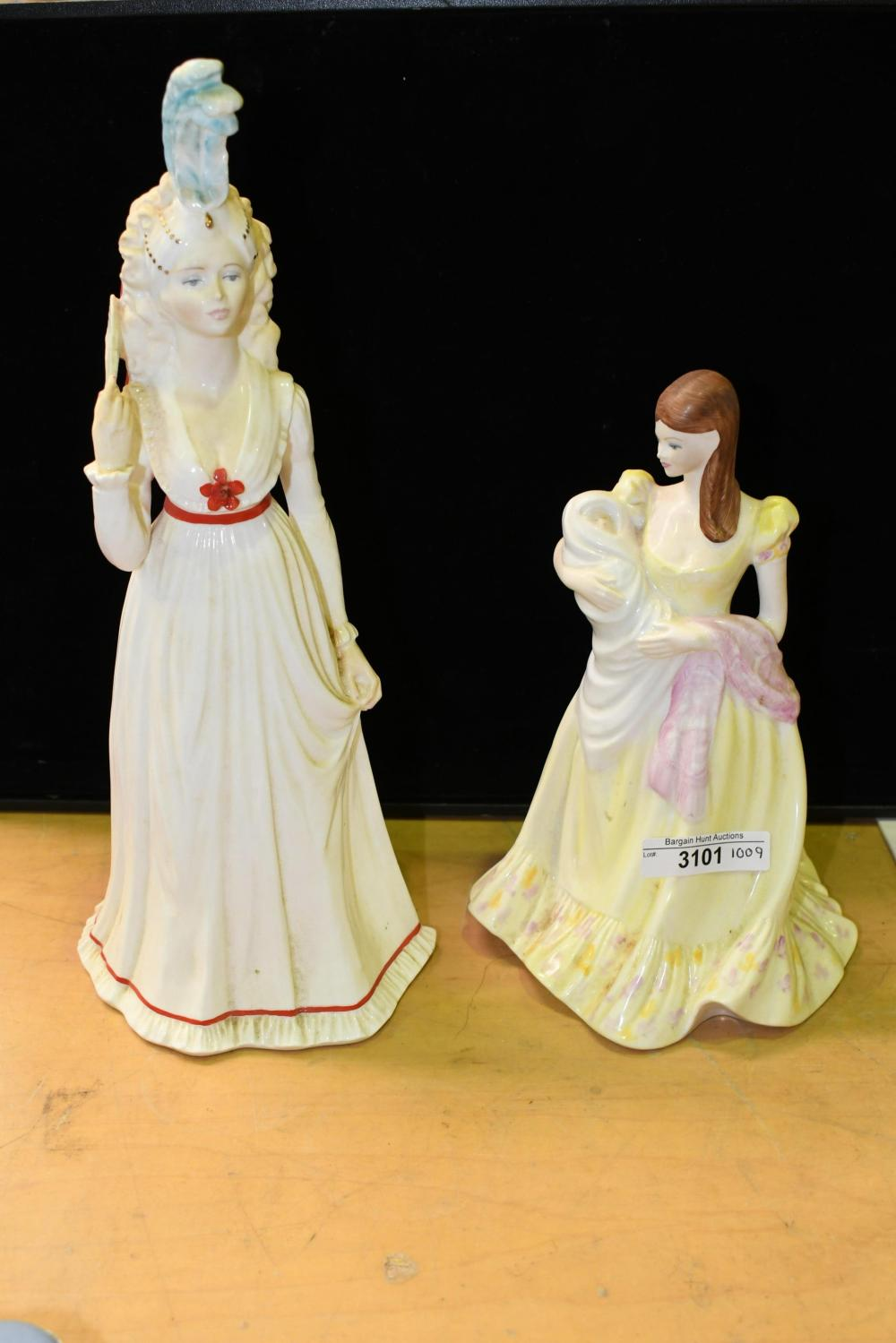 Two coalport figurines incl, First is 29cm, second is 20cm
