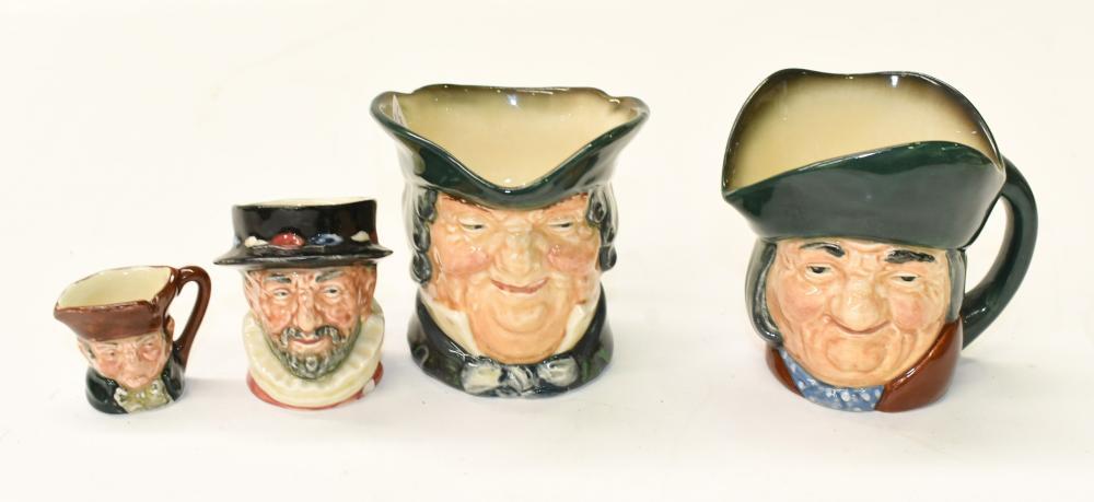 Four Royal Doulton character jugs