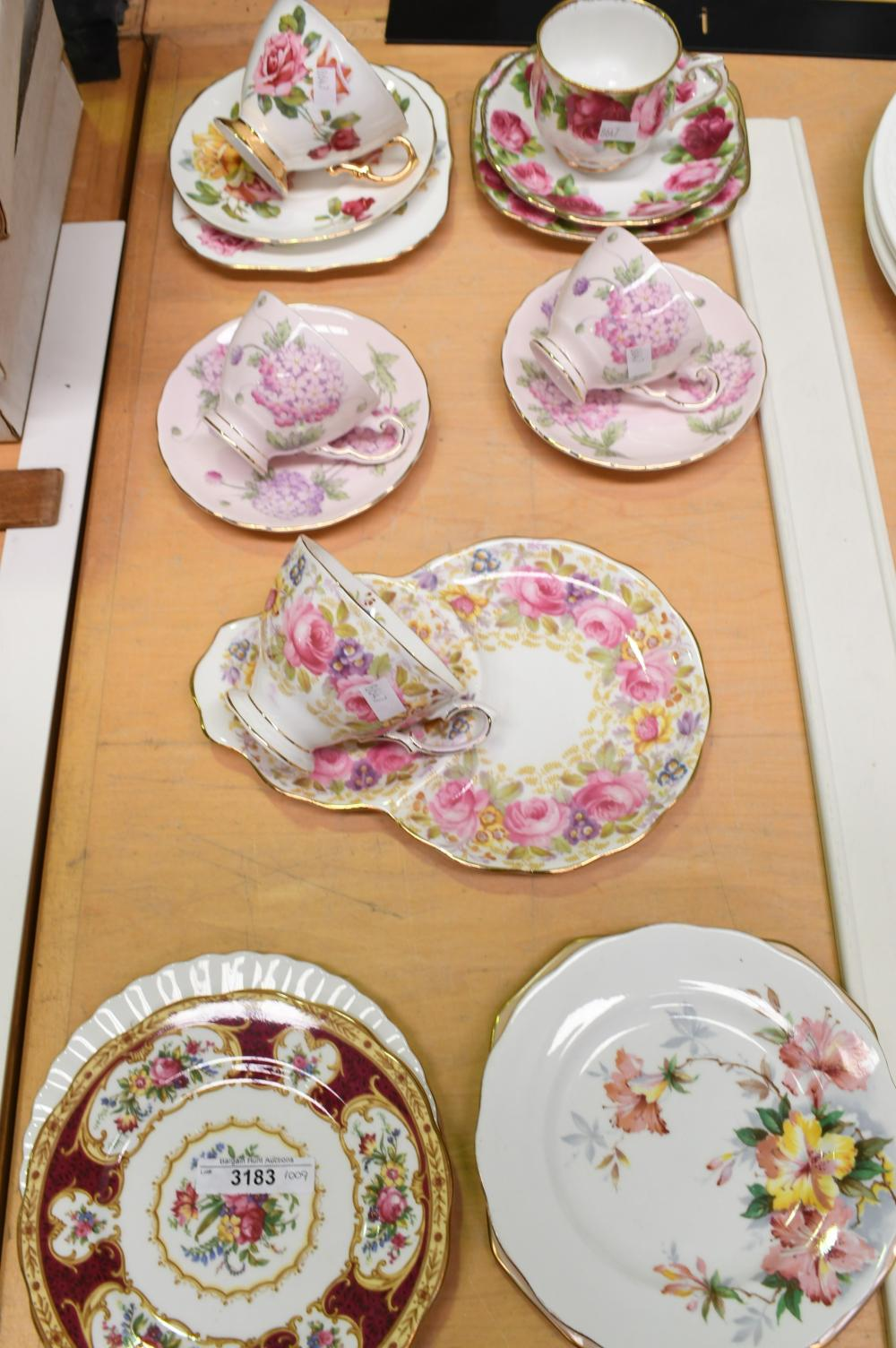 Collection of assorted cups and saucers etc
