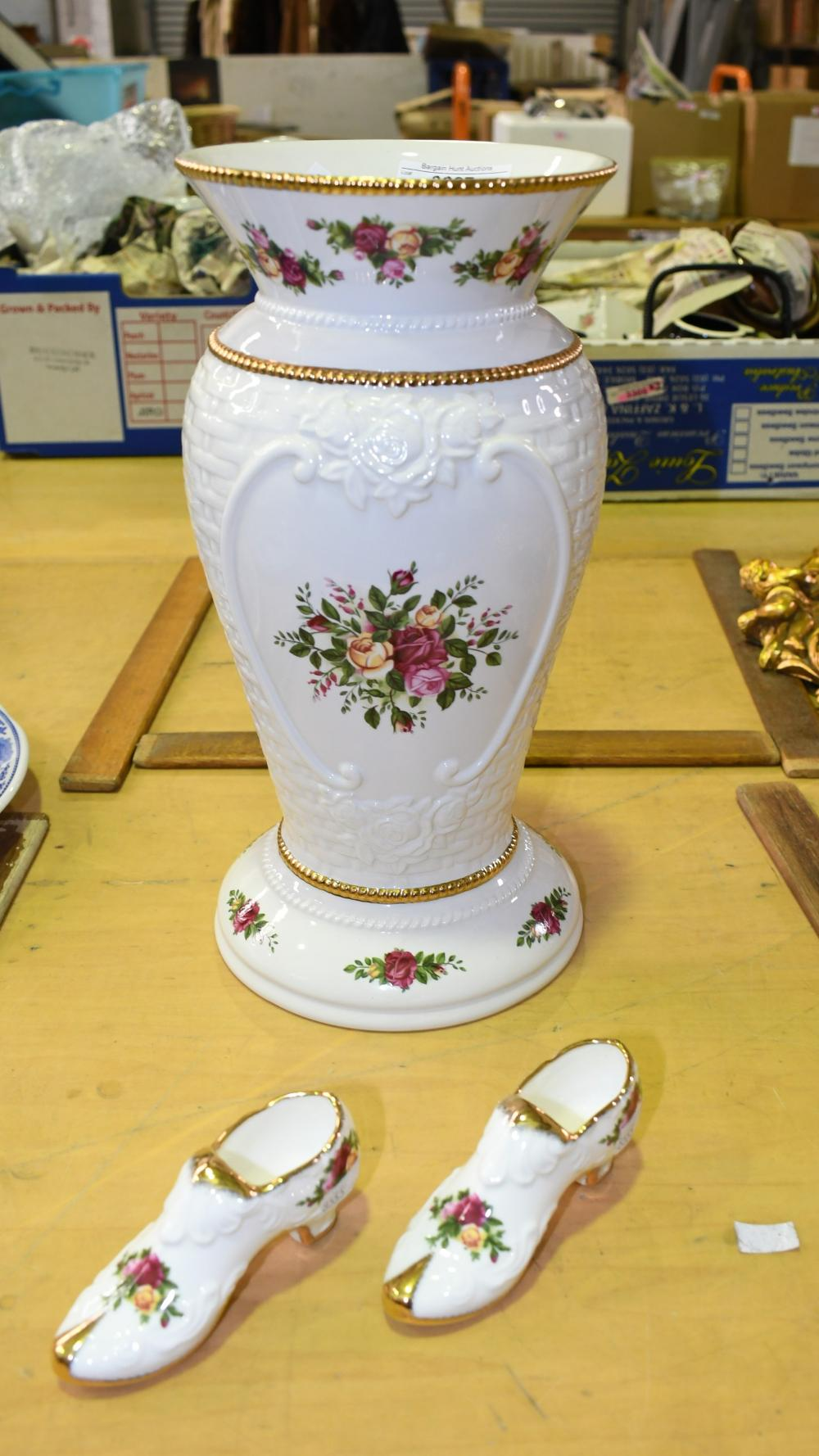 Three pieces of Royal Albert ''Old Country Roses'', vase is 30.5cm H