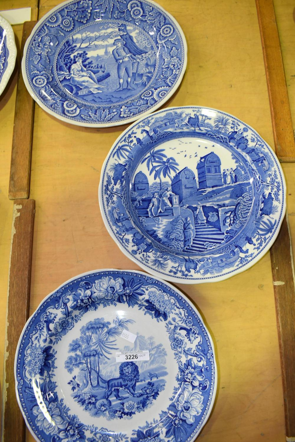 Three Spode Blue Room plates, each 26cm D