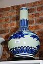 Oversized bottleform oriental blue-on-blue glazed