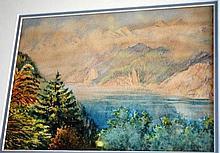 Artist unknown watercolour of an Alpine lake scene