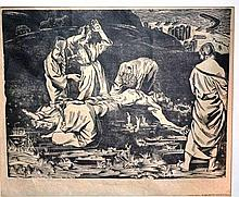 Bernard Rice (1900-1998), woodcut on rice paper,