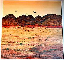 Colleen Parker oil on board, outback landscape