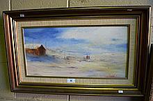 Lionel H. Taprell oil on board, 'Fishermen, Boat
