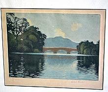 Robert Houston aquatint 'Callander Bridge' with