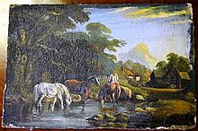 Artist unknown antique oil on board, European