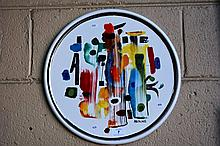 Bernard Hesling vitreous enamel plaque, circular