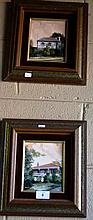 Diana Lane, 2 oil on boards, Beecroft houses each