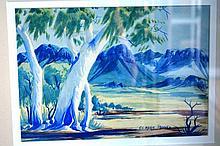 Claude Pannka watercolour, landscape with mountain