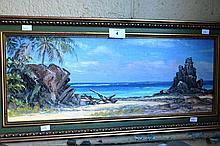 John Emmett oil on board 'The driftwood piece,