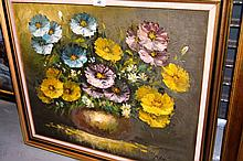 P. Hartman oil on board, still life flowers in