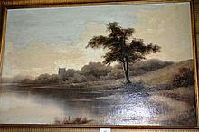 Artist unknown, early oil on board, lakeside