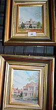 Diane Lane pair of oil on boards, house scenes,