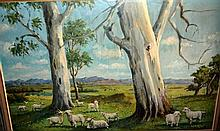 Artist unknown: oil on board, 'Lambs in a rural