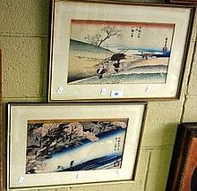 Utagawa Hiroshige 2 x Japanese woodblock prints