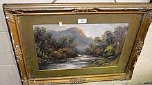 W. Collins, oil on card, a New Zealand? river