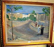 H. Andersson, oil on canvas, North African street