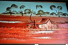 Nick Petali oil on board, an outback slab hut with
