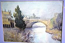 Winifred Caddy watercolour 'Old Bridge, Parramatta