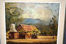 Rae Mackenzie, oil on board, an old homestead,