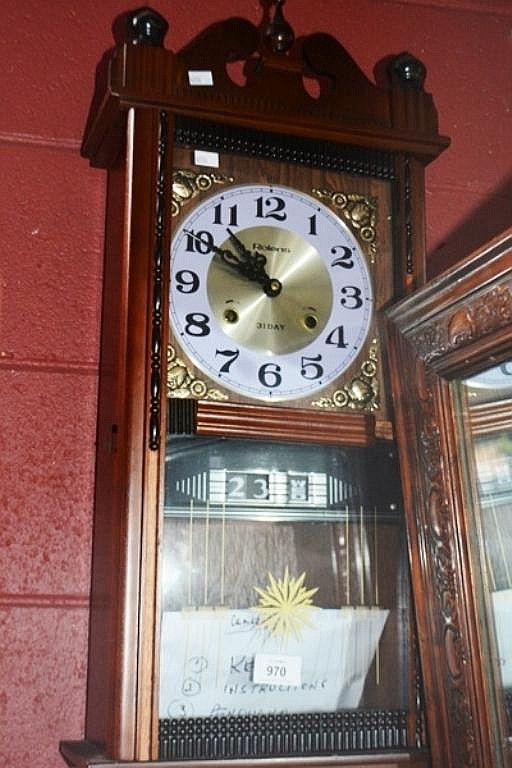 Vintage Rolens 31 Day Wall Clock Timber Case