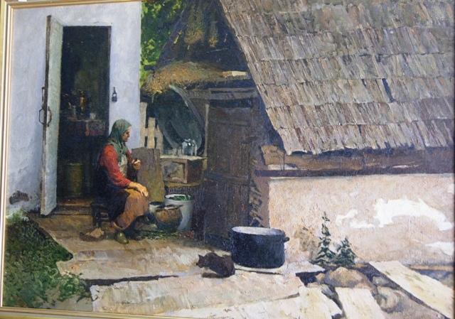S d belov european rural scene an old peasant woman outsi for Classic house genre
