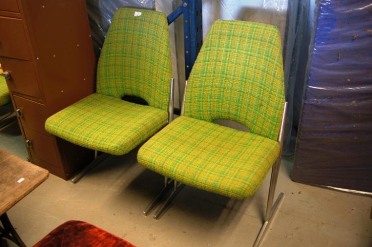 Set Of 4 Green Yellow Fabric Upholstered Retro Dining Chai