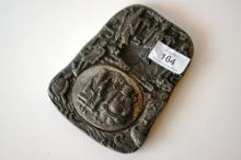 Chinese cast white metal scholar's ink stone,